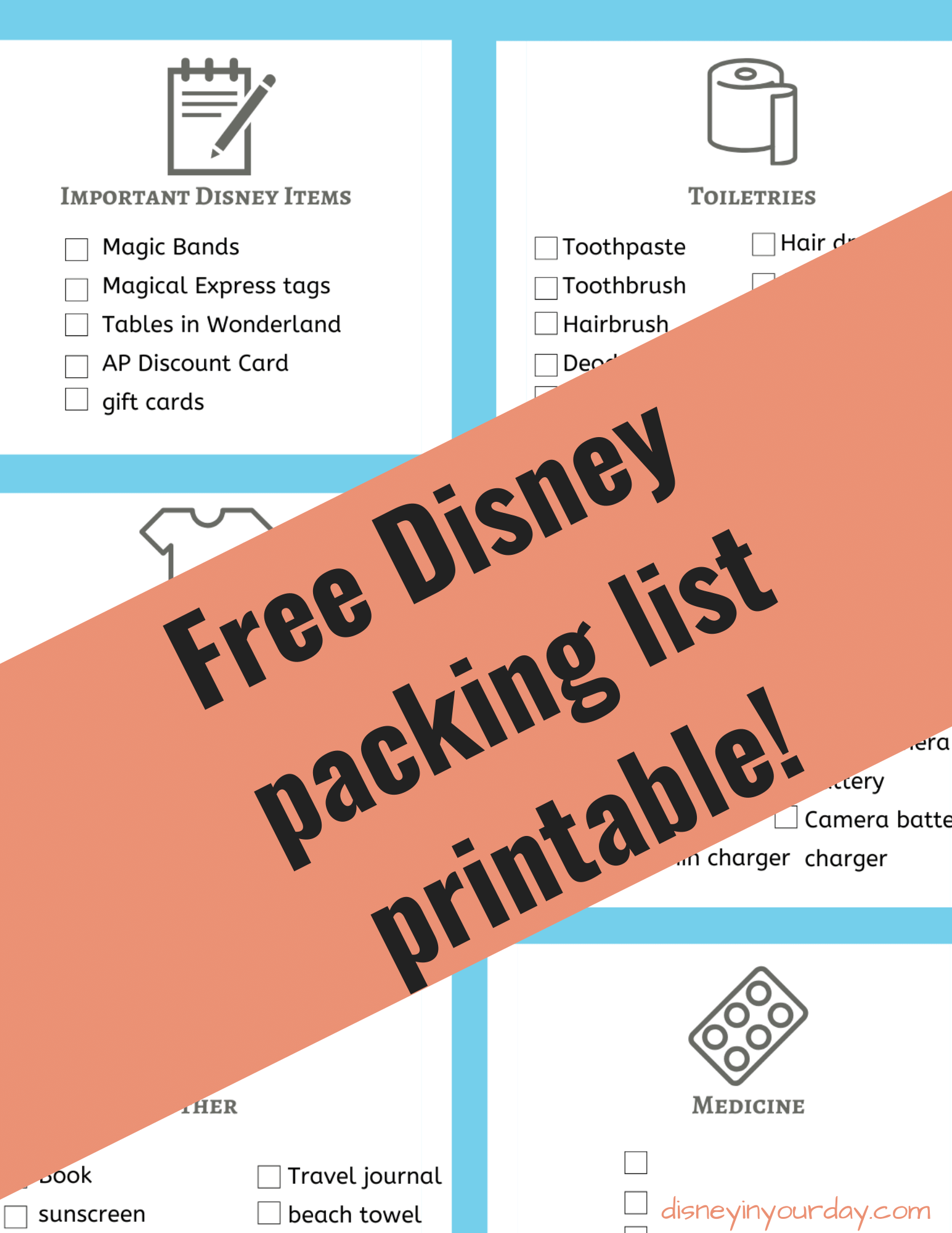 Disney packing list - Disney in your Day