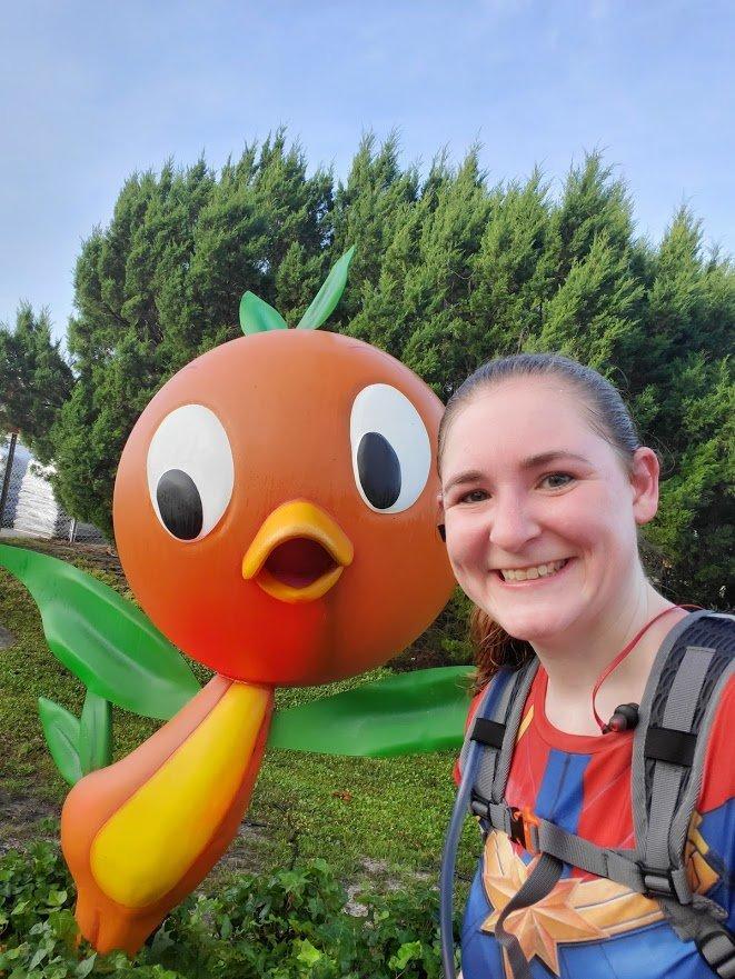 orange bird at the Disney World marathon in 2020 - Disney in your Day