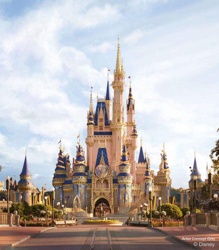 Disney World 50th celebration castle - Disney in your Day