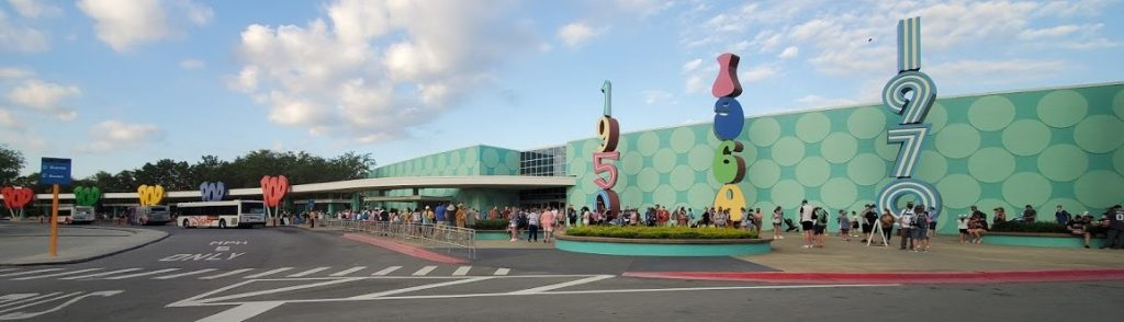 visiting Disney right now - bus line at Pop Century
