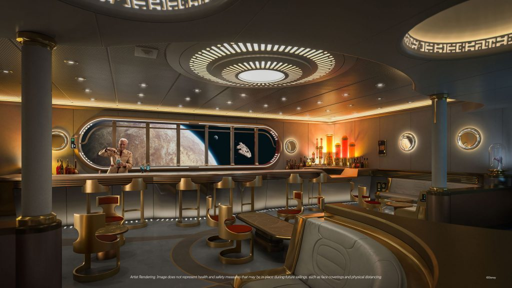Disney Wish cruise ship - Star Wars themed bar with the new Hyperspace Lounge