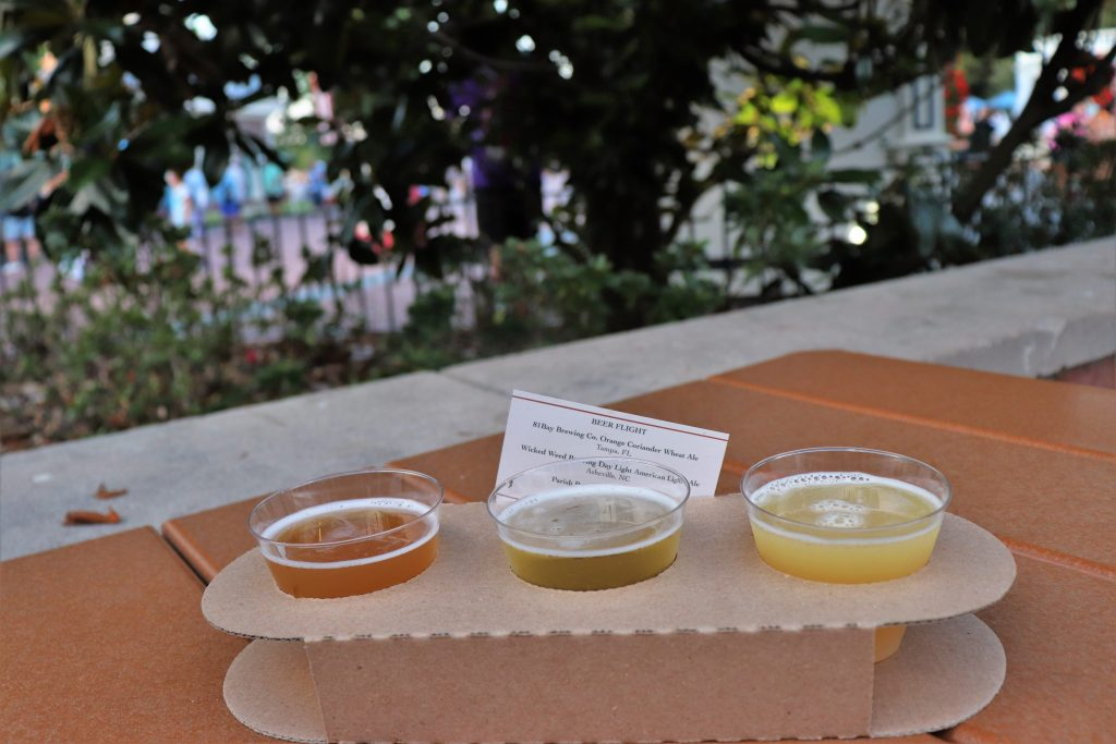 Best Flower and Garden Festival food and drinks - beer flight at Magnolia Terrace