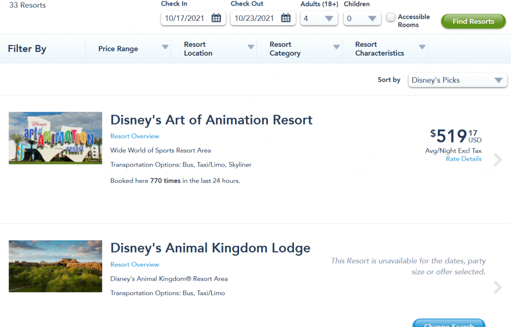 visiting Disney right now - availability