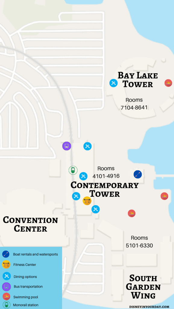 Disney's Contemporary resort map - Disney in your Day