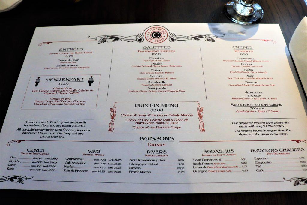 La Creperie de Paris menu - Disney in your Day